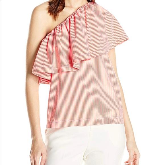 f8c54e8886bdd Trina Turk one shoulder orange striped top Sz S